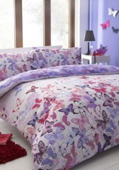 Better Home Style Butterflies Butterfly Floral Flowers Pink Purple Turquoise Girls//Kids//Teens 4 Piece Sheet Set with Pillowcases Flat and Fitted Sheets Set # Tree Butterfly Queen