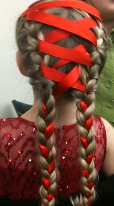 ribbon double french braid