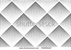 Abstract black and white seamless pattern with three-dimensional halftone rhombus. Dotted geometrical background. Vector illustration.