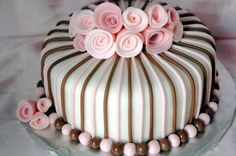 Pink And Brown Fondant Cake on Cake Central
