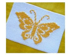 Yellow butterfly cross stitch pattern jpg format by sskalinka, $1.50