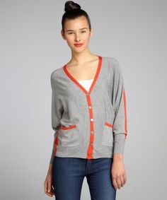 Larsen Grey : grey and orange jersey knit colorblock dolman sleeve cardigan : style # 323526003 #ootd #scentstyle