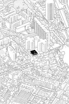 Réinventer Paris : Éva Le roi Plus Urban Architecture, Architecture Drawings, Réinventer Paris, Atelier Theme, Plan Ville, Urban Mapping, Axonometric View, Rendering Drawing, Urban Ideas