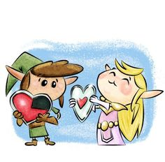Awe Princess Zelda loves Link!