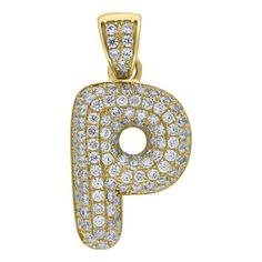 """Yellow Gold Iced Out Cubic Zirconia Mens Womens Bubble Initial Letter """"P"""" Charm PendantItem Number - from Yellow GoldWidth: inches ; Length: inchesGift box Yellow Gold Iced Out Cz Mens Womens Bubble Initial Letter """"P"""" Charm Pendant Letter Pendants, Gold Chains For Men, Initial Letters, Jewelry Stores, Initials, Bubbles, Charmed, Lettering, Metal"""