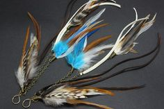 Mixed Natural Feather Earring w/ Lengths of Brown and White Leather 10-12 inches