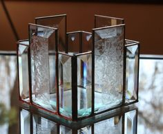 Clear Stained Glass Beveled Candle Holder. $30.00 USD, via Etsy.