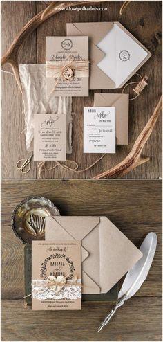 Rustic kraft paper wedding invitations #rusticwedding