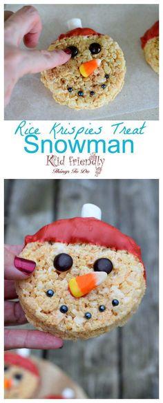 Snowman Rice Krispies Treat for a fun winter or Christmas treat. http://www.kidfriendlythingstodo.com