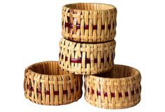 "Catnap Cottage, Rattan Napkin Rings, S/4 - 1.75"" W x 1"" H  $19 - orig. 80"