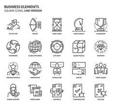 Business elements, square icons. Premium Icons
