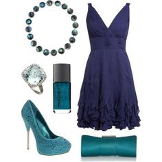 I found Blue Dress Outfit with Nail Polish, Heels, Ring, Clutch and Bracelet on Wish, check it out!