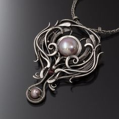 Sarahndippity Freshwater Pearl Necklace- Rhodolite Garnet- Camira Necklace