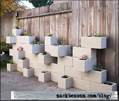 Cinder Block planters / herb garden. If you like to cook you'll especially get great use from herbs planted in these functional and really cool looking industrial arrangements.