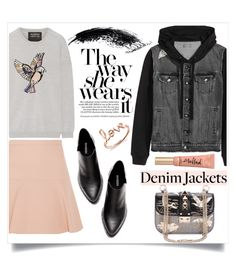 """""""Jean Jackets"""" by judysingley-polyvore ❤ liked on Polyvore featuring Markus Lupfer, Miu Miu, Sydney Evan, Too Faced Cosmetics and jeanjackets"""