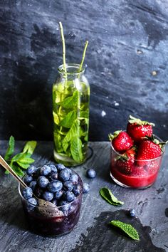 Strawberry Syrup & Blueberry Syrup & Mint Syrup --- from circahappy.com