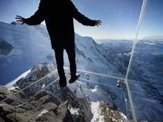 STEP INTO THE VOID Chamonix, France The elevation: a staggering 12,605 feet. From there, you can see Mount Blanc and other alpine peaks, the mountain climbers trying to summit—and a 3,300-foot drop immediately below.