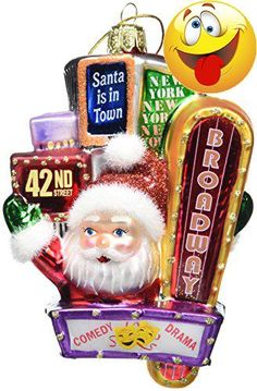 #limited The #Kurt Adler 5-inch Santa on Broadway Glass Ornament is a fun, festive way to add to your holiday décor. In this unique 3-D design, Santa waves from ...
