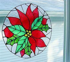 Christmas Poinsettia Window Cling Suncatcher by clingingimages