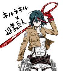 Kill La Kill, Attack On Titan Crossover, Anime Crossover, Wallpaper Animes, Animes Wallpapers, Gurren Laggan, Cartoon Crossovers, Comic Games, Fan Art