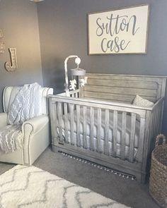 grey and cream rustic farmhouse nursery decor #nurserydecor #nurseryideas #farmhousedecor #farmhousenursery