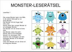 Monster Leserätsel, erstes Lesen, Lesekompetenz, Leseverständnis, Hinweise lesen und entsprechend die Monster anordnen, logisches Denken, Logik, Vorschule, Klasse 1, Deutsch