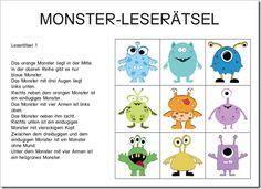 Monster Leserätsel. Sooo doing this in German 3 for Halloween. :)