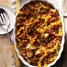 Tuna Mushroom Casserole Recipe -I love to serve this dressed-up version of a tuna casserole. The green beans add nice texture, color and flavor. The first time I made this dish, my uncle asked for seconds even though tuna casseroles are not usually his favorite. —Jone Furlong, Santa Rosa, California