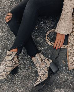The Madeline Snake Print Bootie Strike a pose this fall in our adorable Booties Outfit, Fall Booties, Fall Shoes, Black Booties, Snake Print Boots, Snake Boots, Street Style Jeans, Cute Shoes, Me Too Shoes