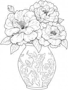 Vaso lindo de flores para colorir