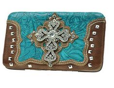 Western Cross Turquoise Wallet #country #cowgirl #accessories #fashion #popular #womens #style #trendy #purse #bling #hunting #3d #boutique #western #religious