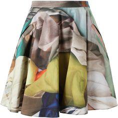 CHALAYAN Fabric Printed Cotton Skirt ($860) ❤ liked on Polyvore