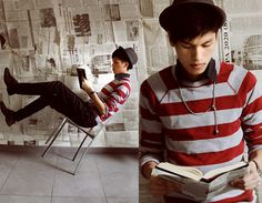 Red Stripes (by Mike Quyen) http://lookbook.nu/look/1813358-Red-Stripes
