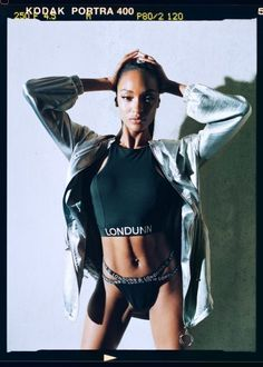 Jourdan Dunn collaborates with Missguided on athleisure clothing line. Londunn x Missguided Silver Hammered Satin Duster Jacket