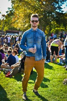 We love that Declan Brennan uses an unexpected pop of mustard to add interest to a chambray shirt.