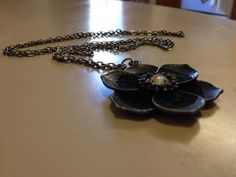 Beautiful Black Aged Flower Necklace by originalsbyem on Etsy Flower Necklace, My Etsy Shop, Chain, Earrings, Flowers, Beautiful, Black, Jewelry, Ear Rings