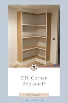 DIY Corner Bookcase (video) - home/decor Corner Bookshelves, Small Bookcase, Wooden Bookcase, Bookshelf Design, Built In Bookcase, Bookcases, Corner Shelves Living Room, Kitchen Bookcase, Barrister Bookcase