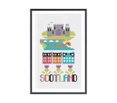Scotland Cross Stitch Pattern Instant Download by tinymodernist