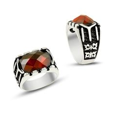 Red cz gemstone mens ring islamic jewelry by ConstantinopleJewel http://www.thesterlingsilver.com/product/mateo-nyc-sterling-silver-arrow-tie-bar/