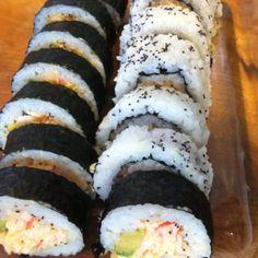 Spicy crab sushi rolls.