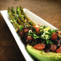 Black Lentil Tomato Salad with Grilled Asparagus. This dish is rich on protein and low on fat and sugar.