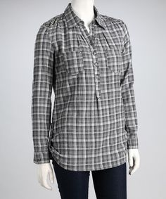 Take a look at this Gray Button-Up by Classic Takes: Women's Apparel on #zulily today!