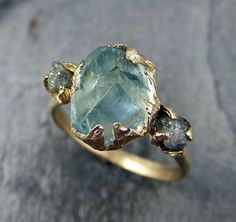 Raw Uncut Aquamarine Diamond Gold Custom One Of a Kind Gemstone Ring Bespoke Three stone Ring by Angeline