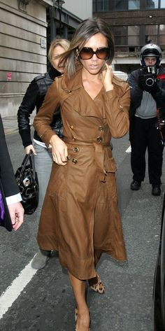 Victoria Beckham- brown leather trench