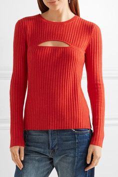 FRAME - Cutout Ribbed Merino Wool-blend Sweater - Tomato red - x small