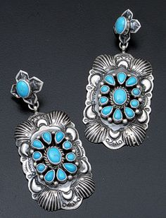 Darryl Becenti - Large Turquoise & Oxidized Sterling Silver Earrings #39002 $480.00