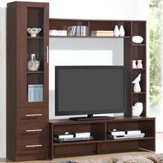 Featuring open shelves for storage or display, this Techni Mobili entertainment center TV stand is the perfect pick for your home. Tv Unit Decor, Tv Wall Decor, Wall Tv, Tv Cabinet Design, Tv Wall Design, Screen Design, Tv Unit Furniture Design, Furniture Ideas, Tv Stand And Entertainment Center