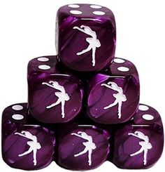 Custom & Unique {Standard Medium 16mm} 6 Ct Pack Set of 6 Sided [D6] Square Cube Shape Playing & Game Dice w/ Rounded Corner Edges w/ Swirl Pearl Gloss Ballerina Design [Purple & White]