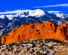 """Pikes Peak from Garden of the Gods Park, with Kissing Camels in the foreground - Colorado Springs, CO (by Beverly & Pack)""--gotta see this!"