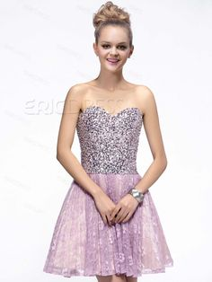 Shinning A-Line Sweetheart Lace Sequins Cocktail/Homecoming Dress Homecoming Dresses 2014- ericdress.com 10865212